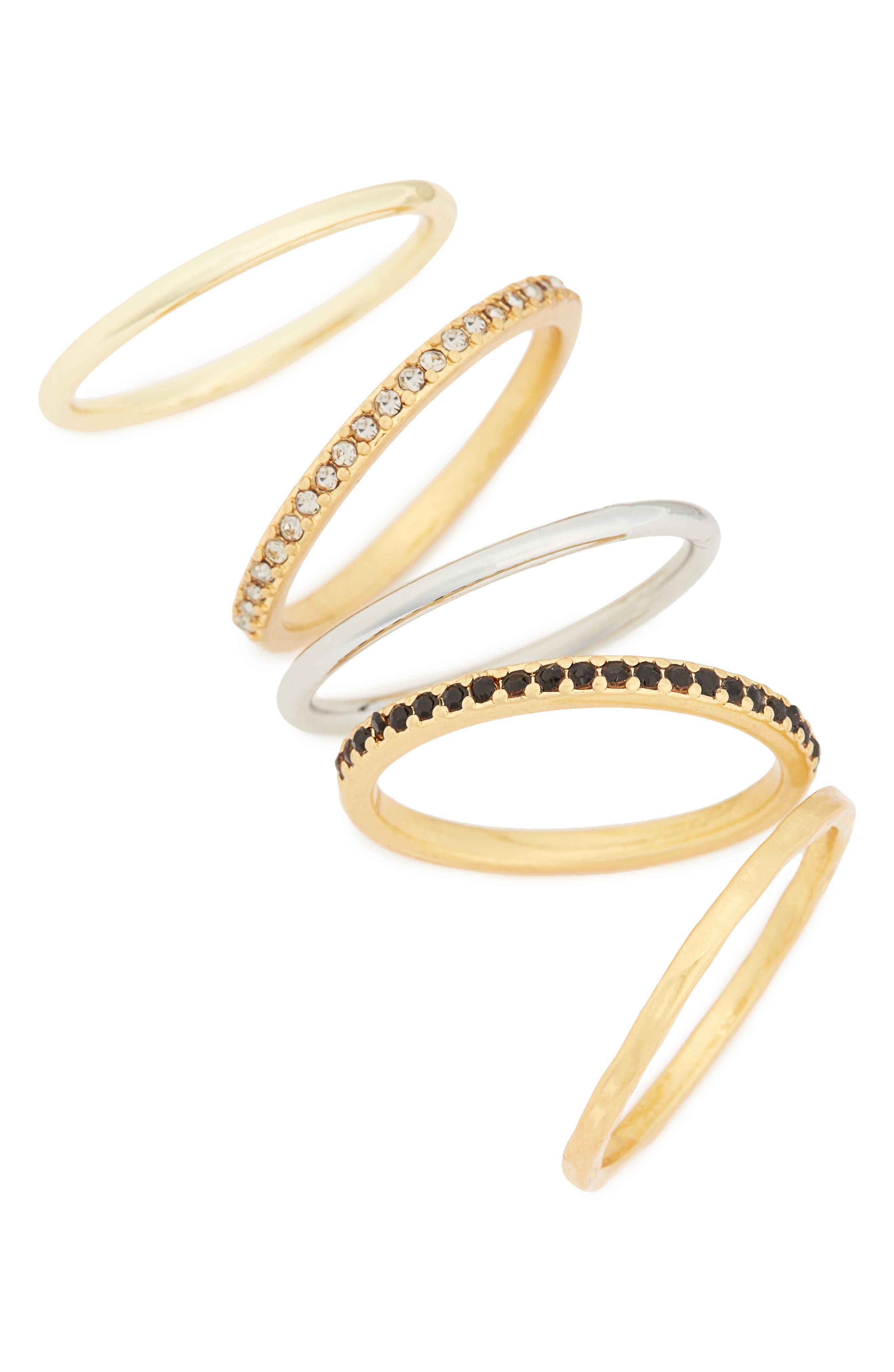 ,                             Filament Set of 5 Stacking Rings,                             Main thumbnail 1, color,                             VINTAGE GOLD