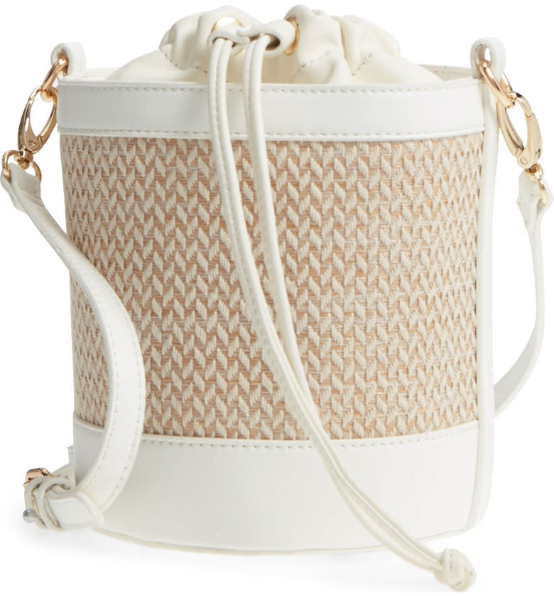 LEITH Straw & Faux Leather Bucket Bag, Main, color, 100