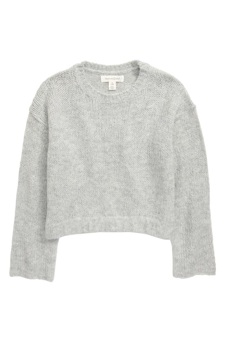 TREASURE & BOND Flare Sleeve Sweater, Main, color, GREY ASH HEATHER