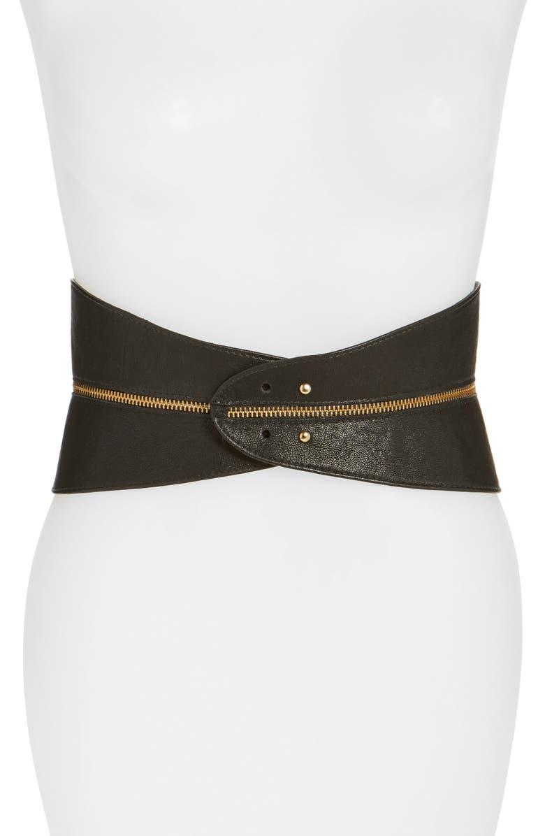 RAINA Leather Corset Belt, Main, color, BLACK