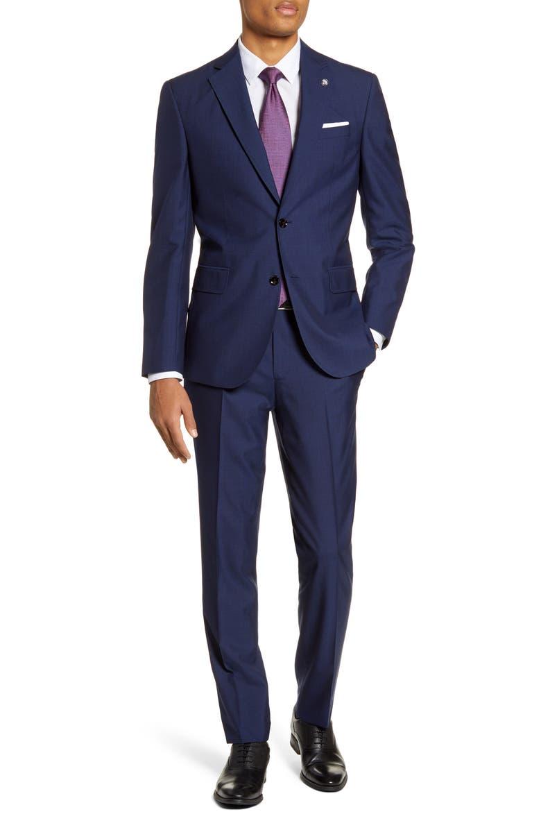 TED BAKER LONDON Jay Trim Fit Wool Suit, Main, color, BLUE