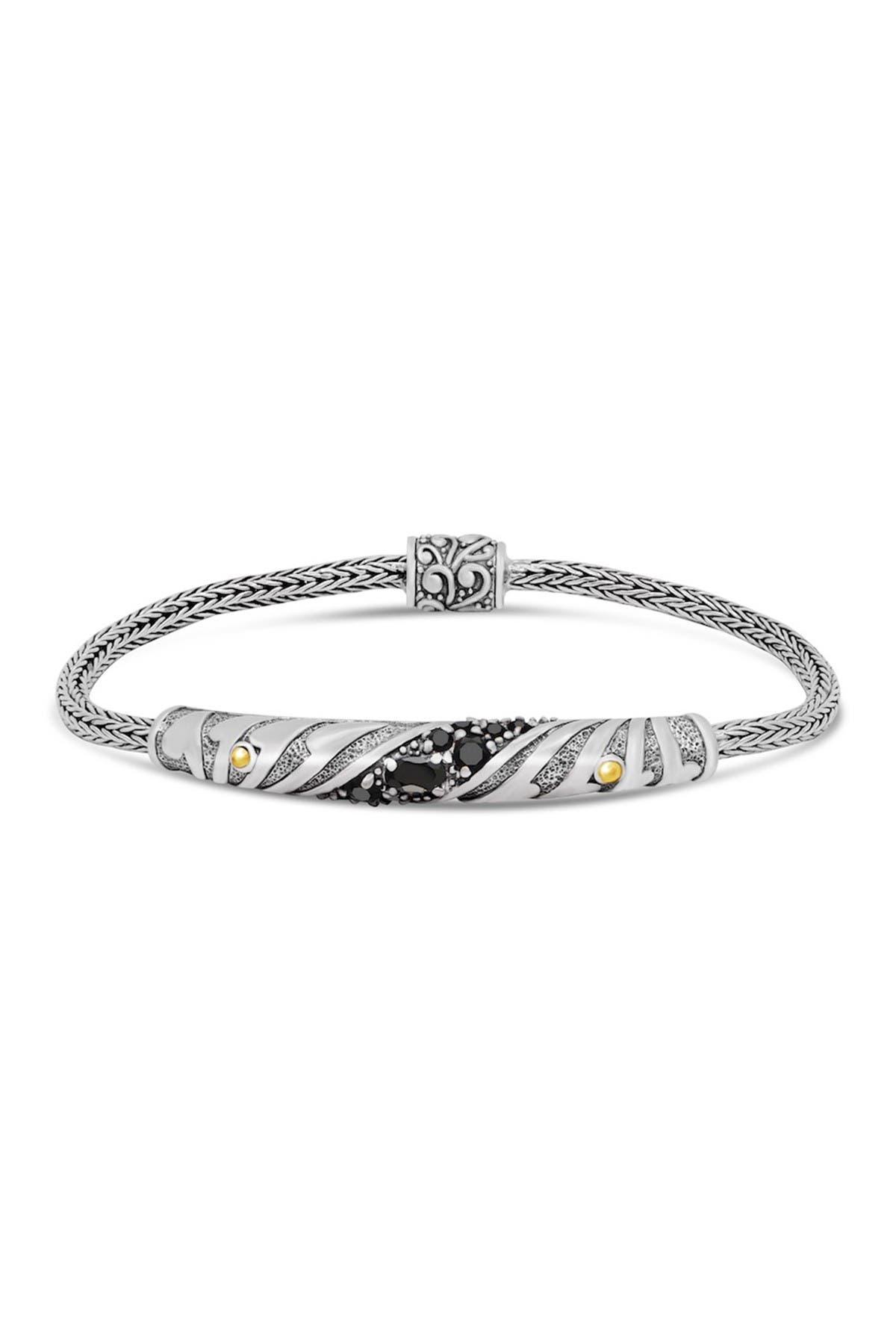 Image of DEVATA Sterling Silver 18K Yellow Gold Accented Bali Filigree Black Spinel Charm Bracelet
