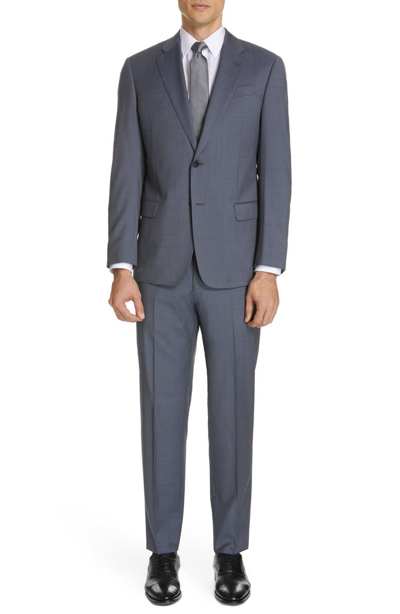 EMPORIO ARMANI Trim Fit Solid Wool Suit, Main, color, 034