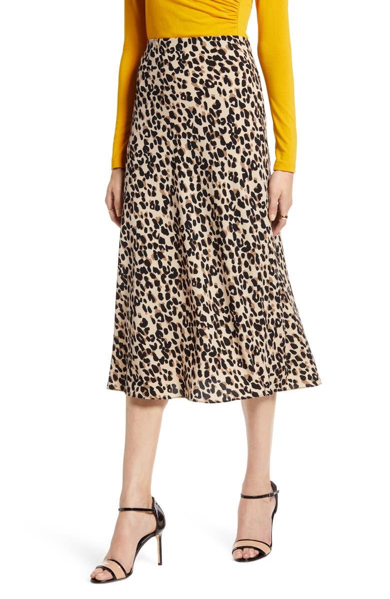 HALOGEN<SUP>®</SUP> Bias Cut A-Line Midi Skirt, Main, color, TAN ABSTRACT ANIMAL PRT
