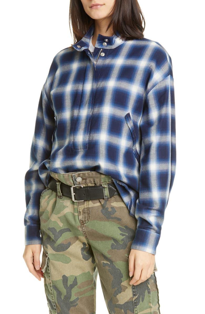 RTA Josie Half Zip Plaid Shirt, Main, color, BLUE CHECKS