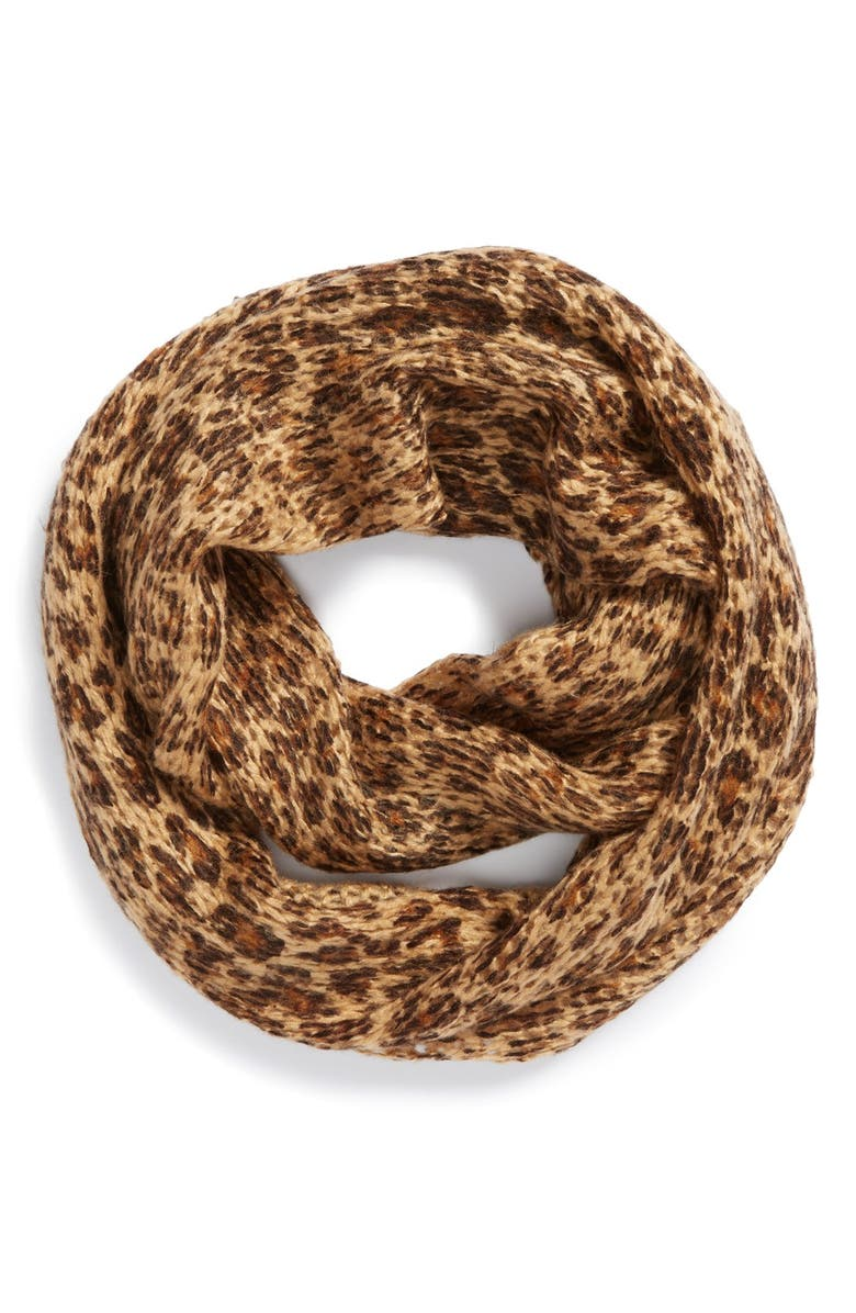BP. Leopard Knit Infinity Scarf, Main, color, Brown