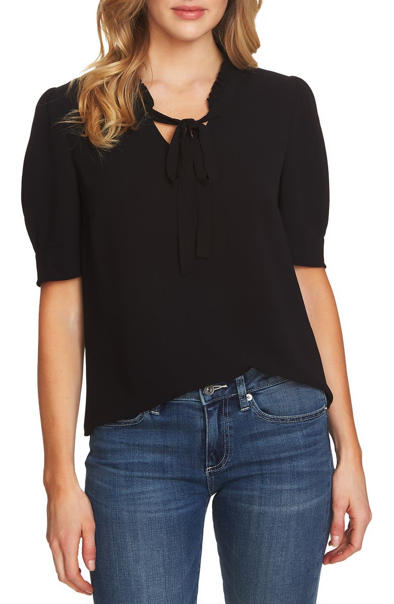 CECE Ruffle Tie Neck Top, Main, color, RICH BLACK