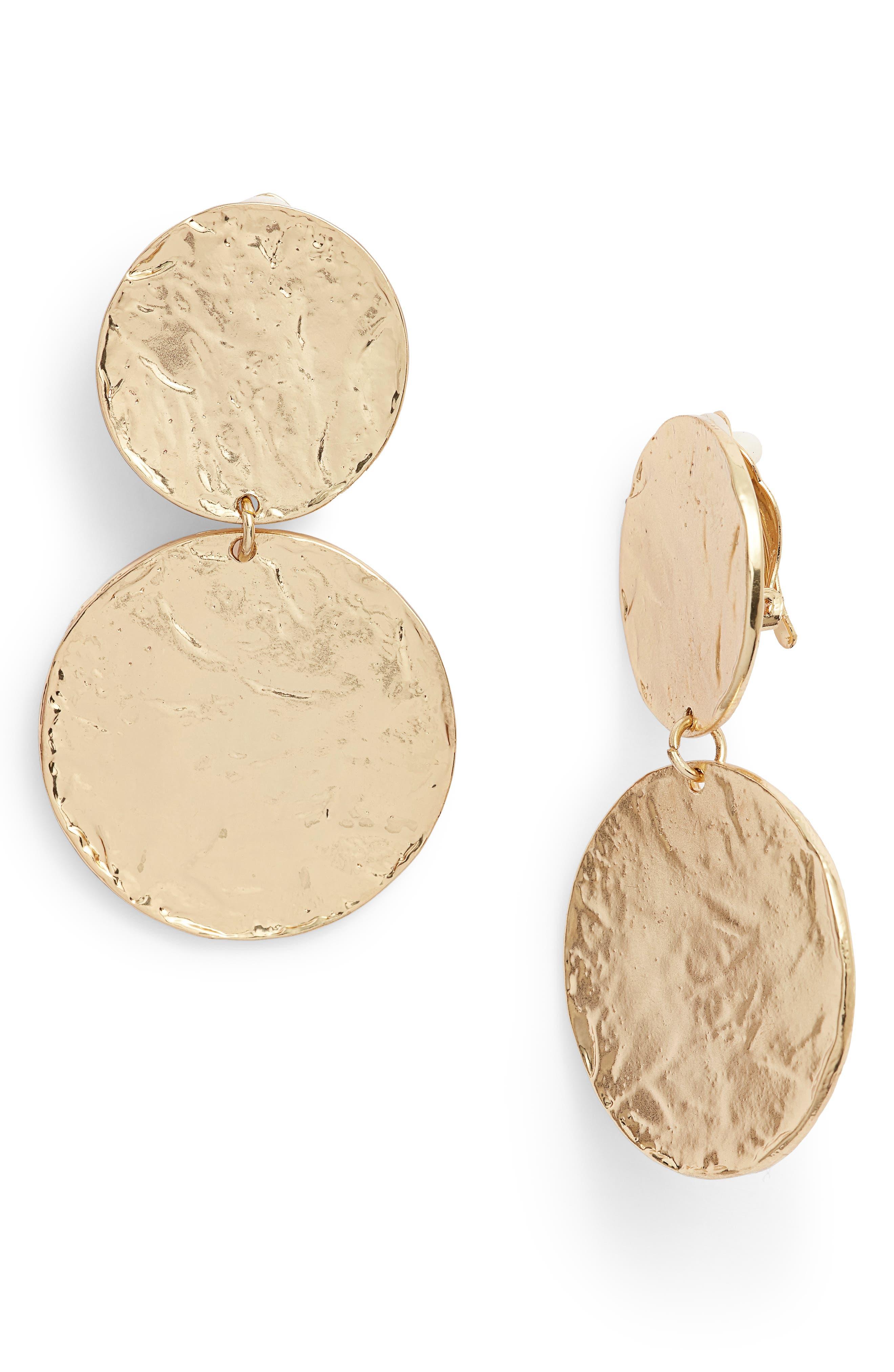 Aimee Large Disc Clip Earrings