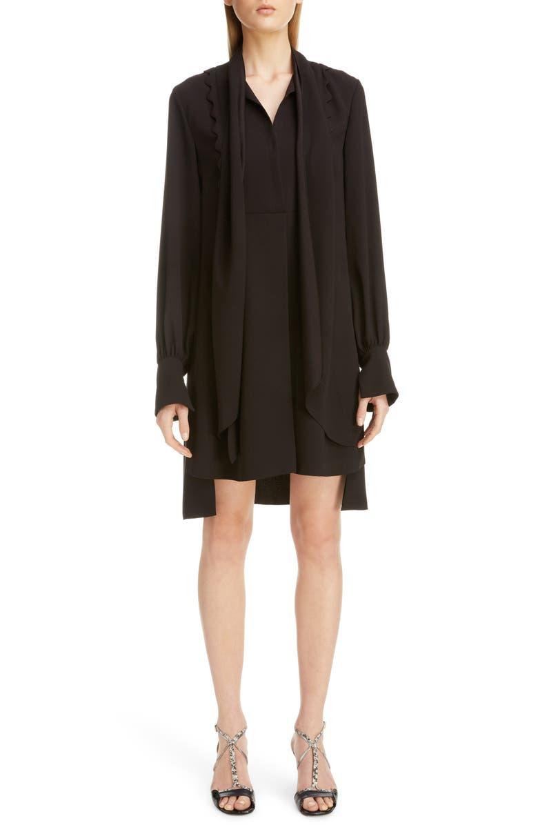 CHLOÉ Scalloped Bib High/Low Scarf Shirtdress, Main, color, BLACK