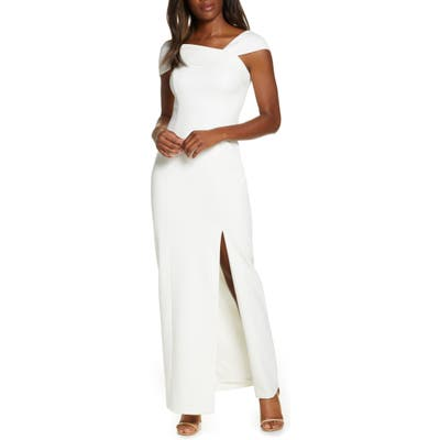 Vince Camuto Asymmetrical Neck Gown, Ivory