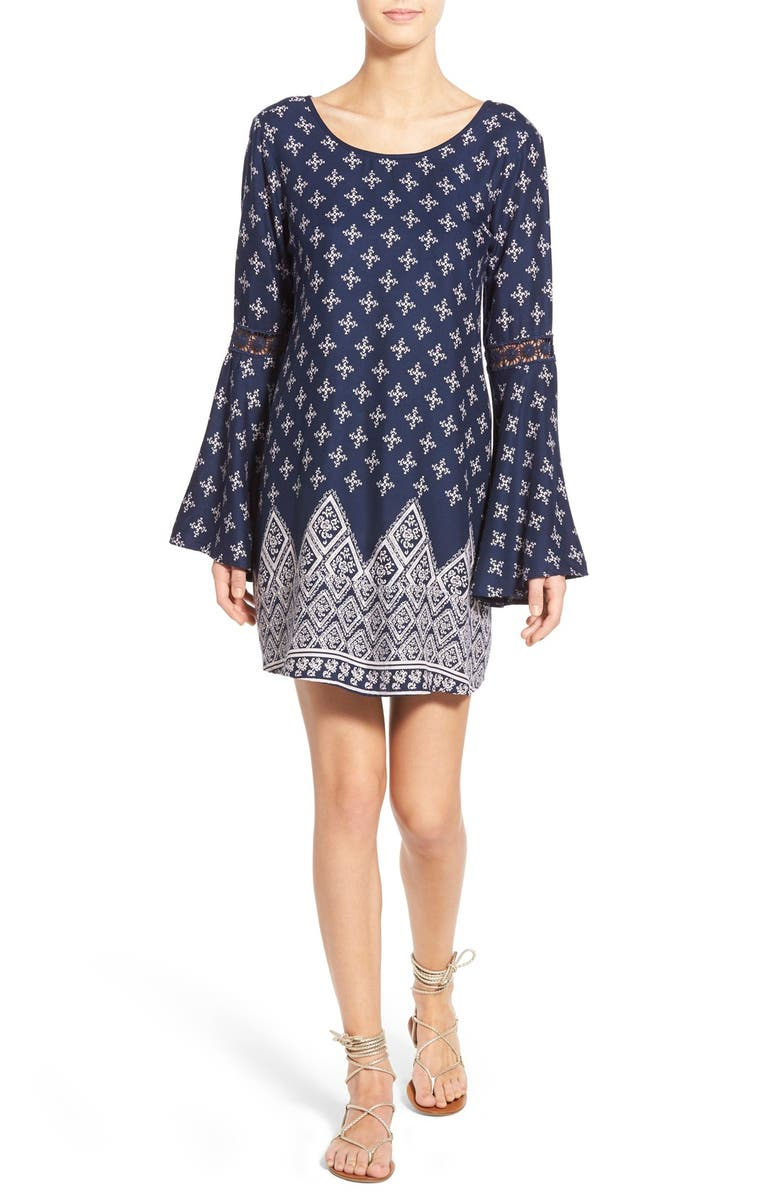 BAND OF GYPSIES Bandana Print Bell Sleeve Dress, Main, color, 400