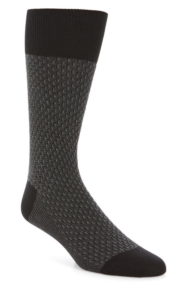 COLE HAAN Dog Bone Texture Crew Socks, Main, color, BLACK/ BLACK