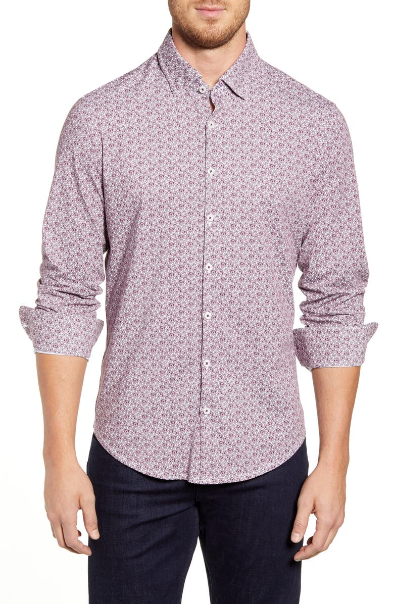 STONE ROSE Regular Fit Floral Button-Up Performance Sport Shirt, Main, color, 652
