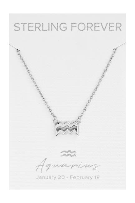 Image of Sterling Forever Rhodium Plated Zodiac Pendant Necklace - Aquarius