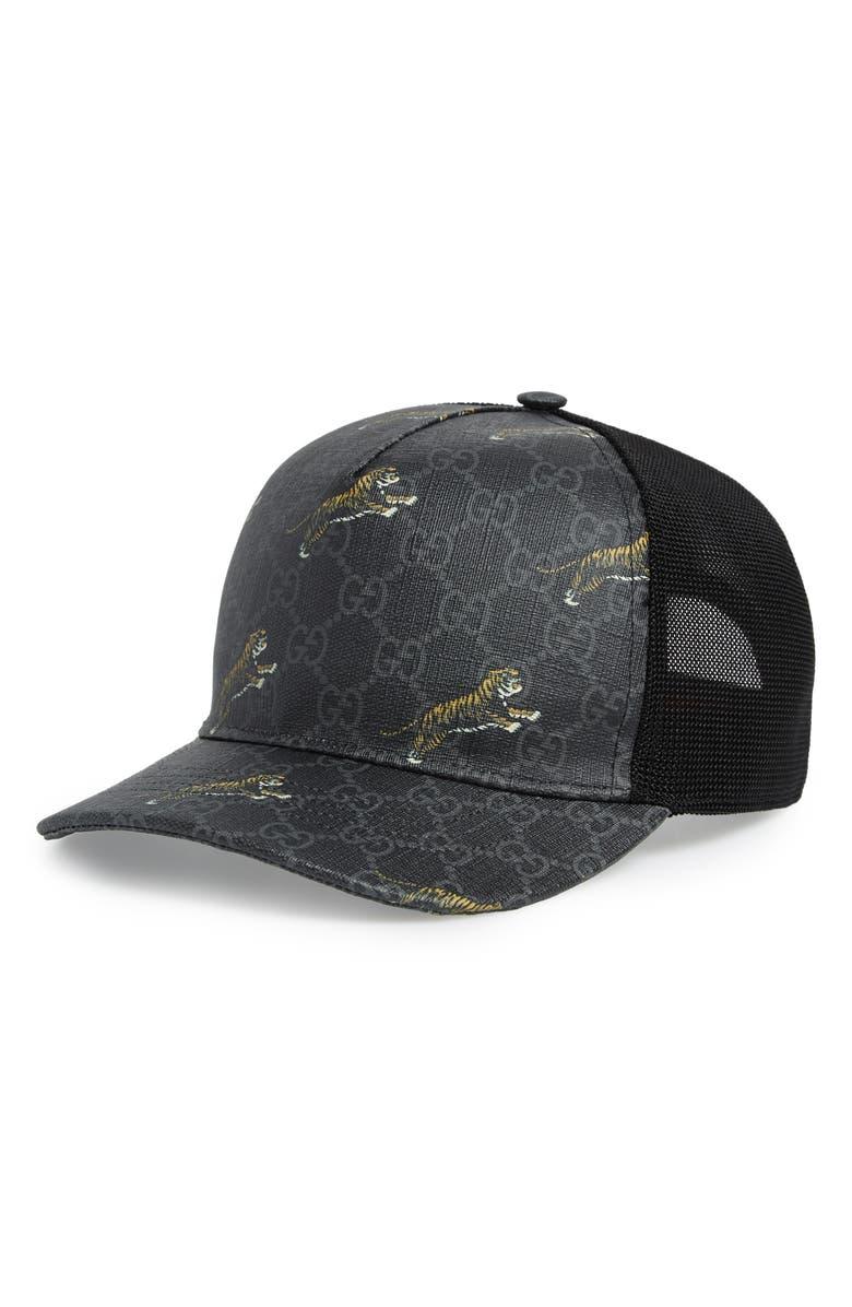 GUCCI Tiger Print GG Supreme Baseball Cap, Main, color, BLACK