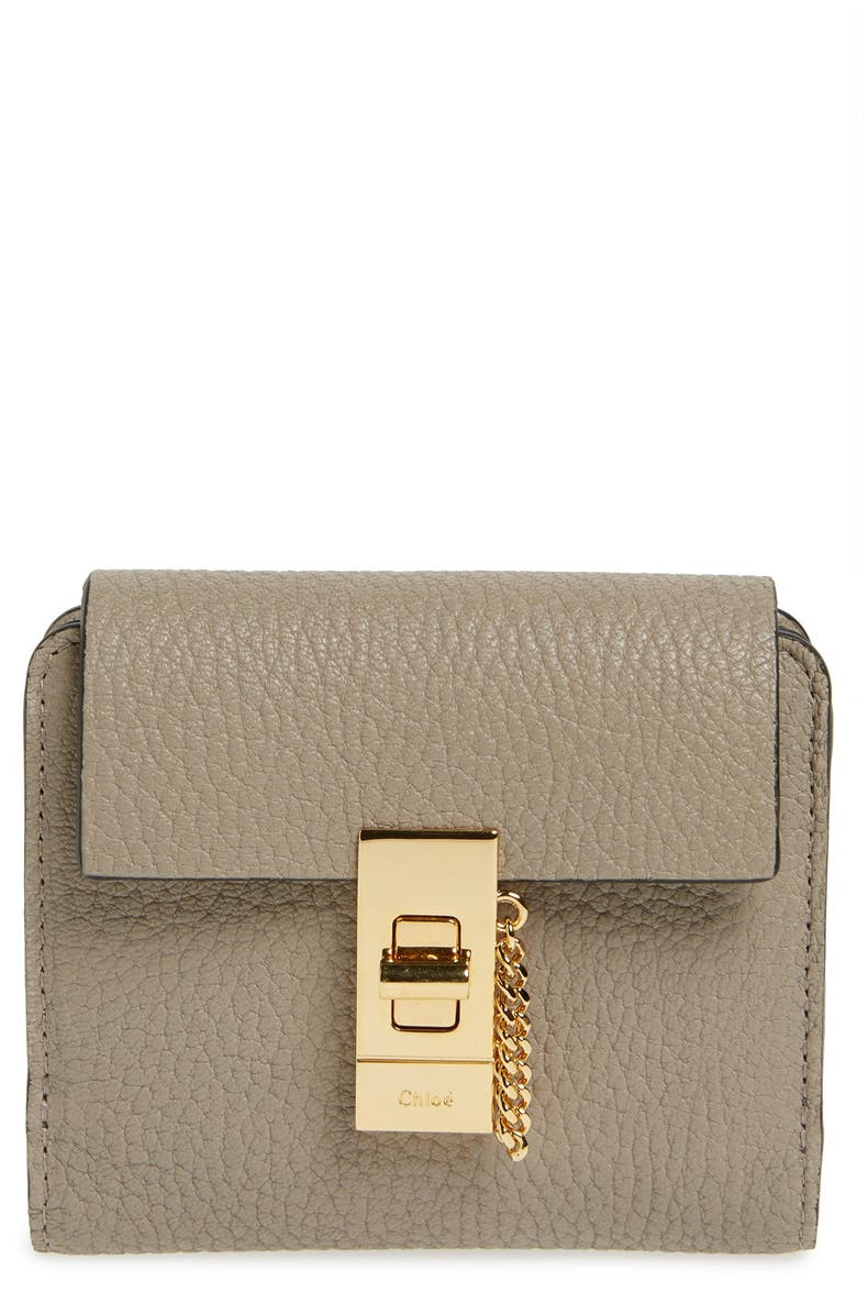 CHLOÉ 'Drew' Calfskin Leather Square Wallet, Main, color, 031