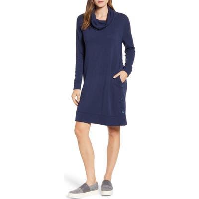 Petite Caslon Cowl Neck Side Button Long Sleeve Dress, Blue