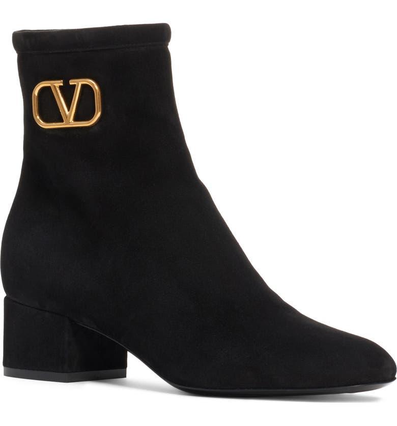 VALENTINO GARAVANI V-Logo Bootie, Main, color, BLACK