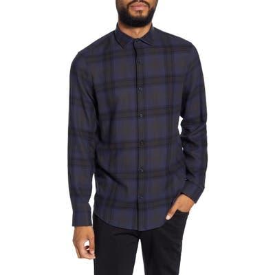 Calibrate Slim Fit Plaid Flannel Button-Up Shirt, Blue