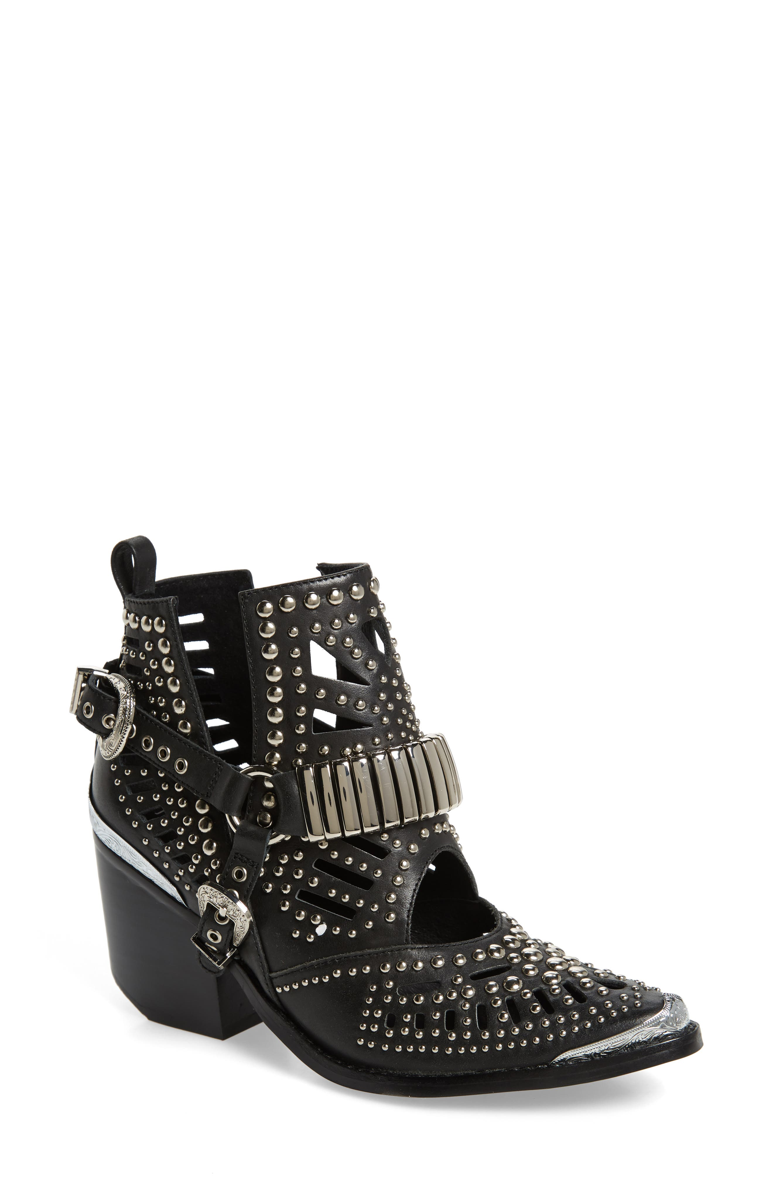 ,                             Wylie Studded Western Bootie,                             Main thumbnail 1, color,                             BLACK/ SILVER LEATHER