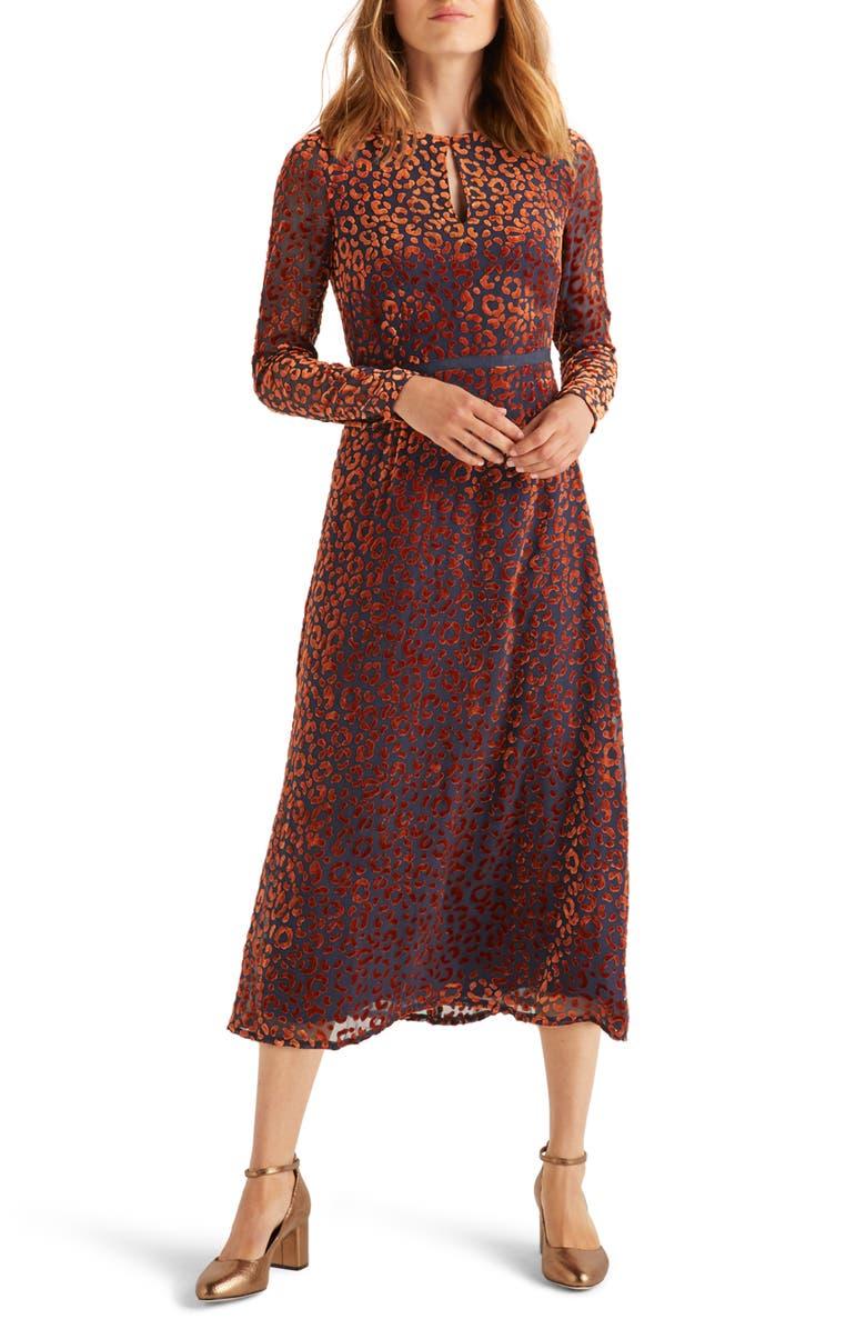 BODEN Marie Leopard Devoré Long Sleeve Midi Dress, Main, color, 204