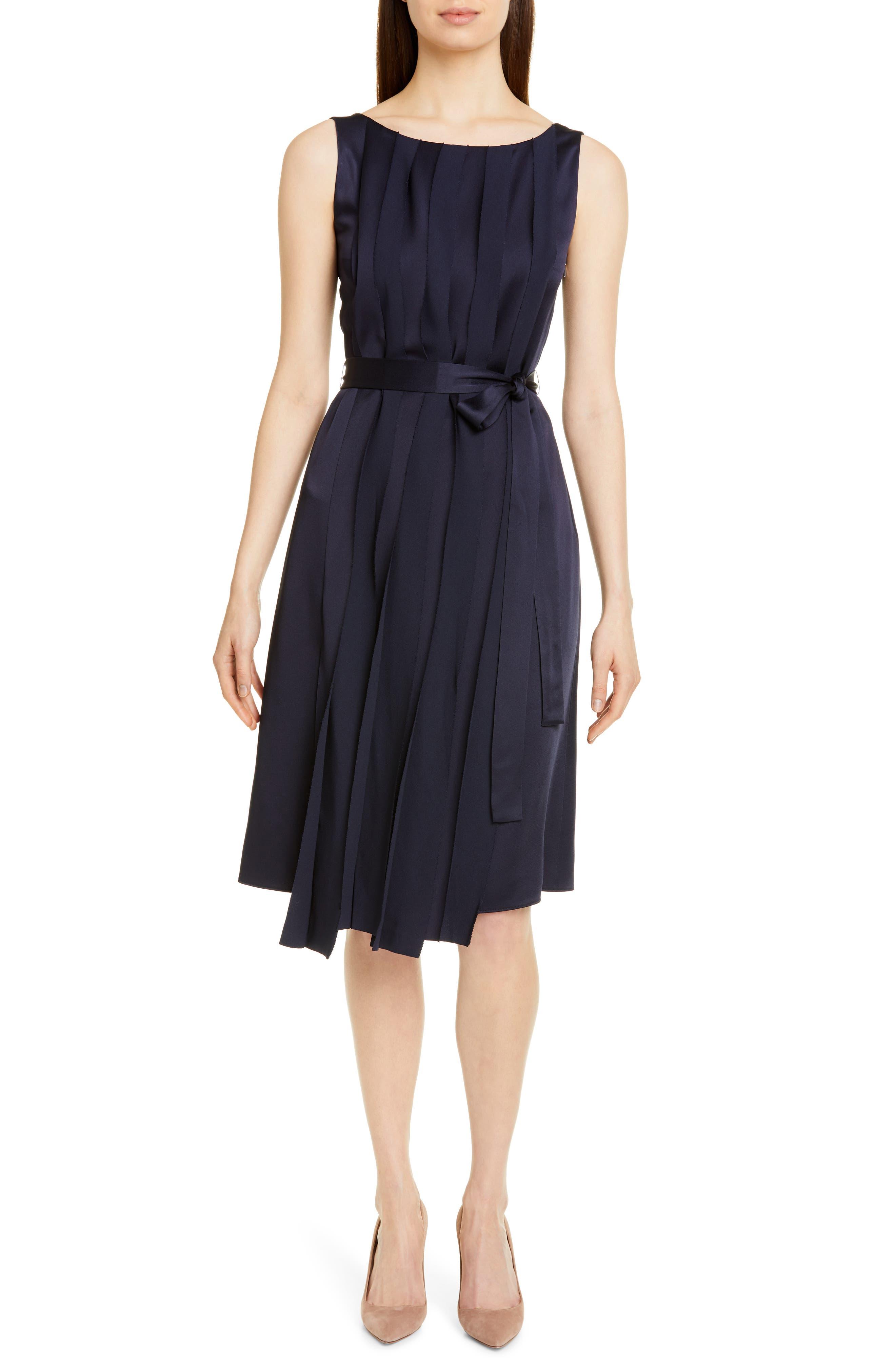 Boss Detapa Pleat Front Dress, Blue