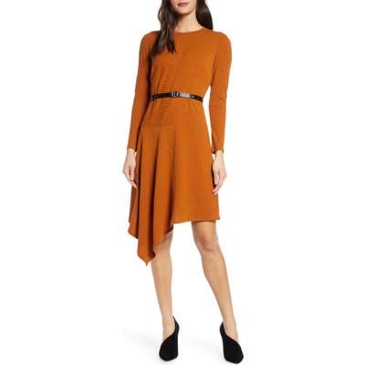 Sam Edelman Asymmetrical Long Sleeve Knit Dress, Yellow