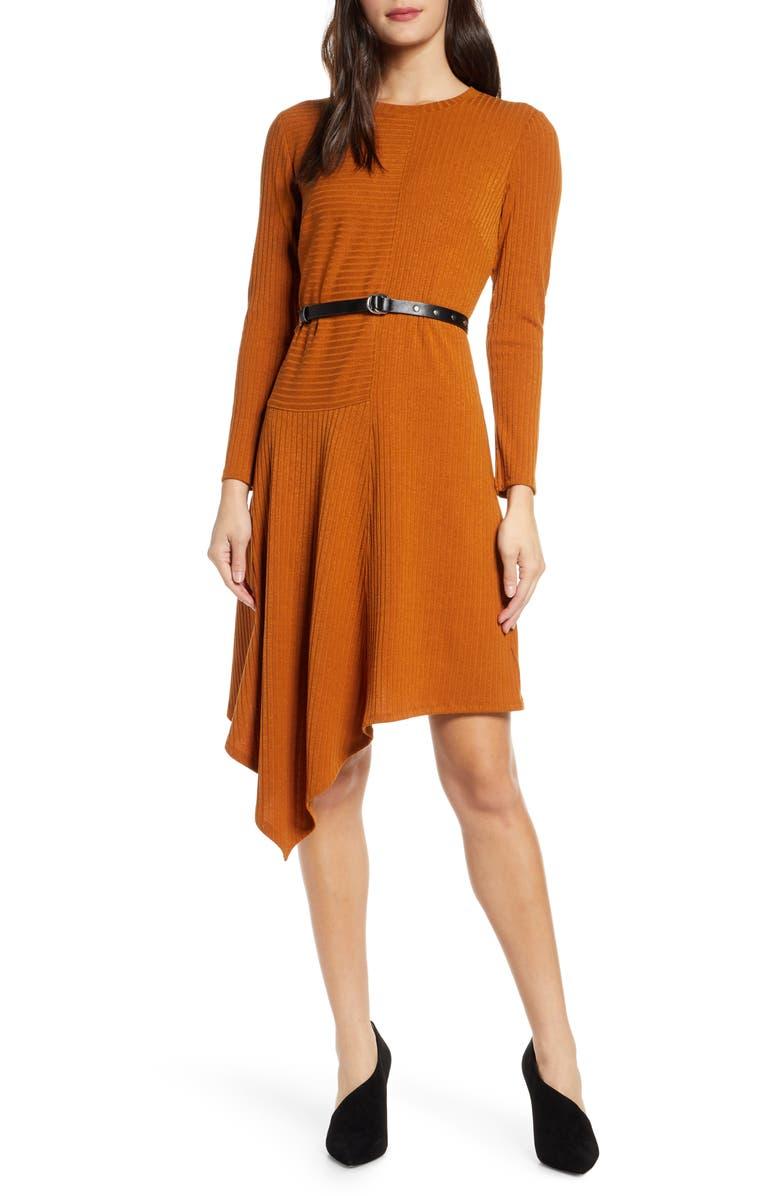 SAM EDELMAN Asymmetrical Long Sleeve Knit Dress, Main, color, CARAMEL