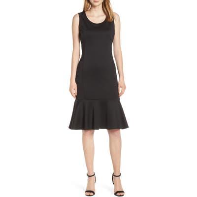 Forest Lily Scuba Dress, Black