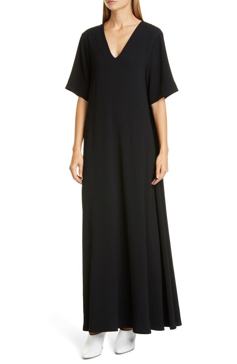 CO Essentials Crepe Maxi Dress, Main, color, BLACK