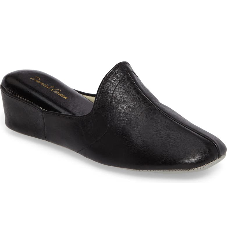 DANIEL GREEN Glamour Scuff Slipper, Main, color, BLACK LEATHER