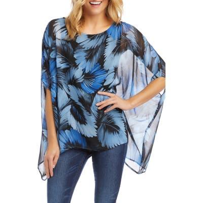 Karen Kane Layered Scarf Print Chiffon Top, Blue