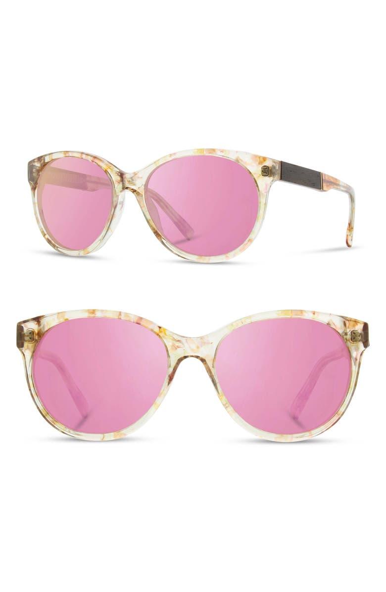 SHWOOD 'Madison' 54mm Polarized Sunglasses, Main, color, BLOSSOM/ EBONY/ ROSE FLASH