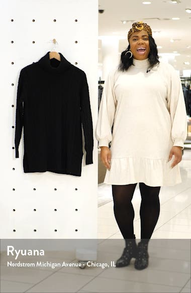 Cable Turtleneck Tunic Sweater, sales video thumbnail