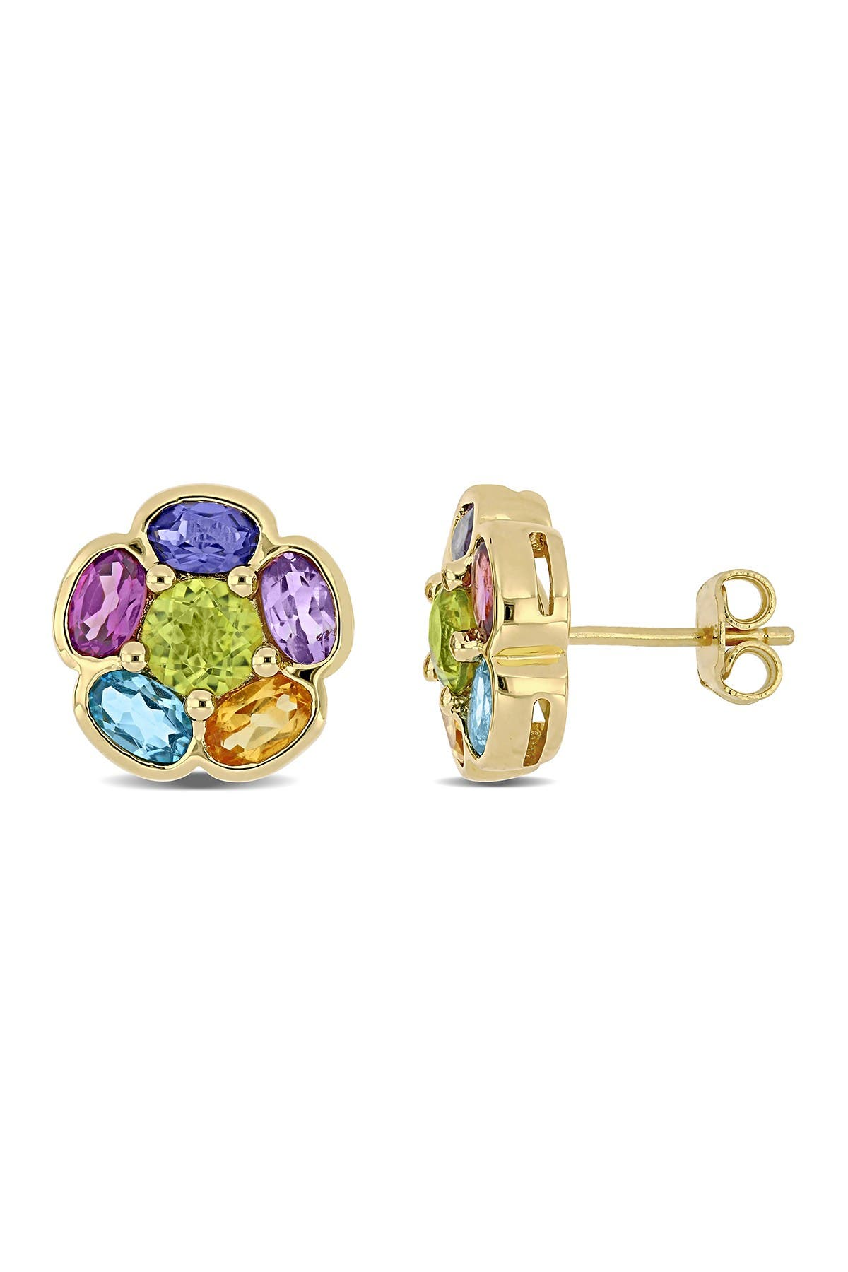 Image of Delmar 18K Yellow Gold Plated Sterling Silver Multi-Gemstone Floral Stud Earrings