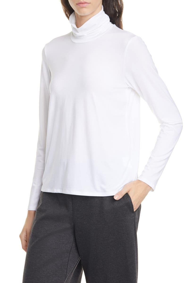 EILEEN FISHER Scrunch Neck Top, Main, color, WHITE