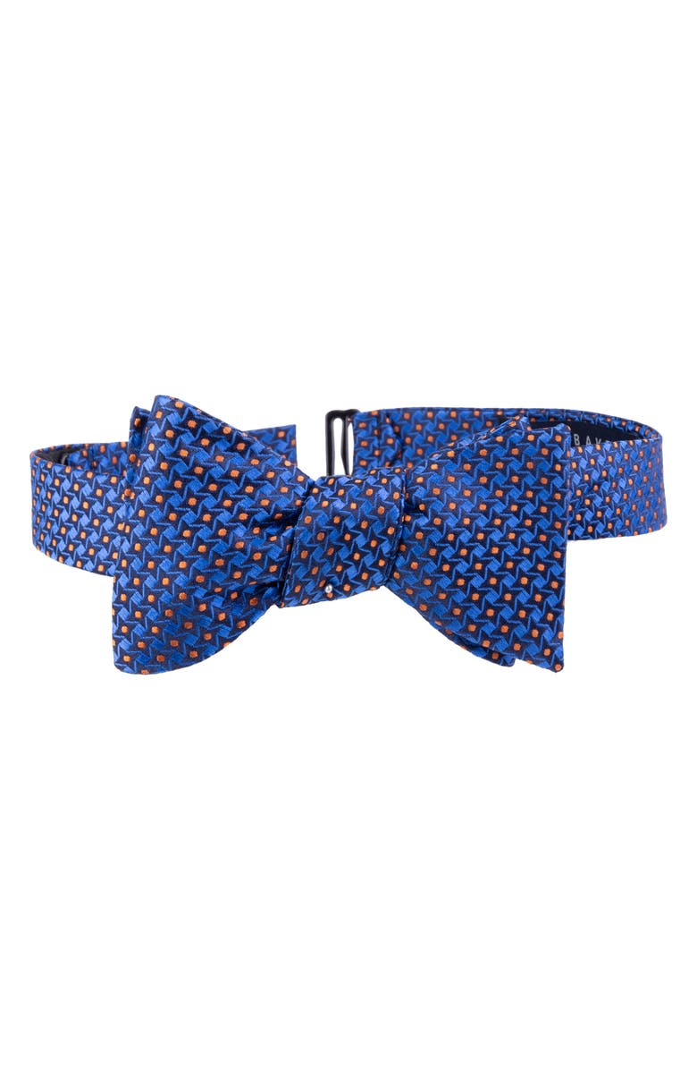 TED BAKER LONDON Dogtooth Check Silk Bow Tie, Main, color, NAVY