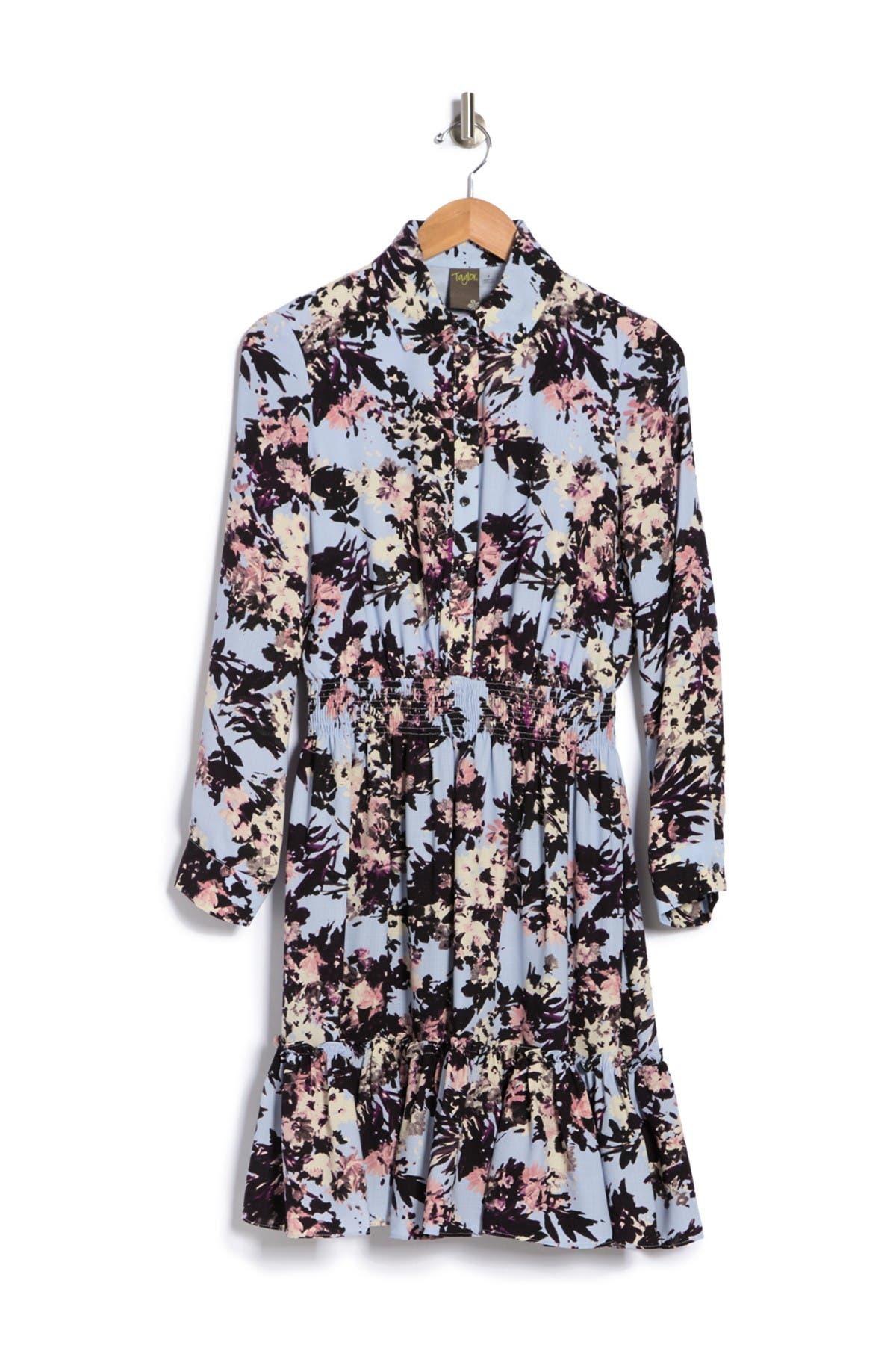 Taylor FLORAL PRINT CREPE SHIRT DRESS