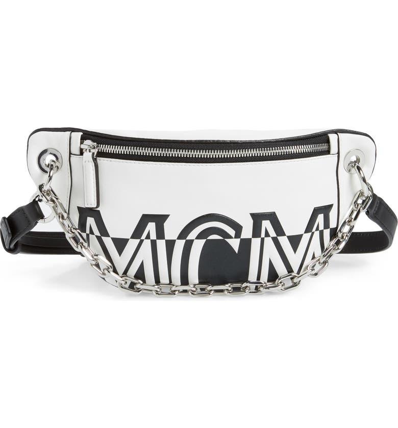 MCM Split Logo Leather Belt Bag, Main, color, 100