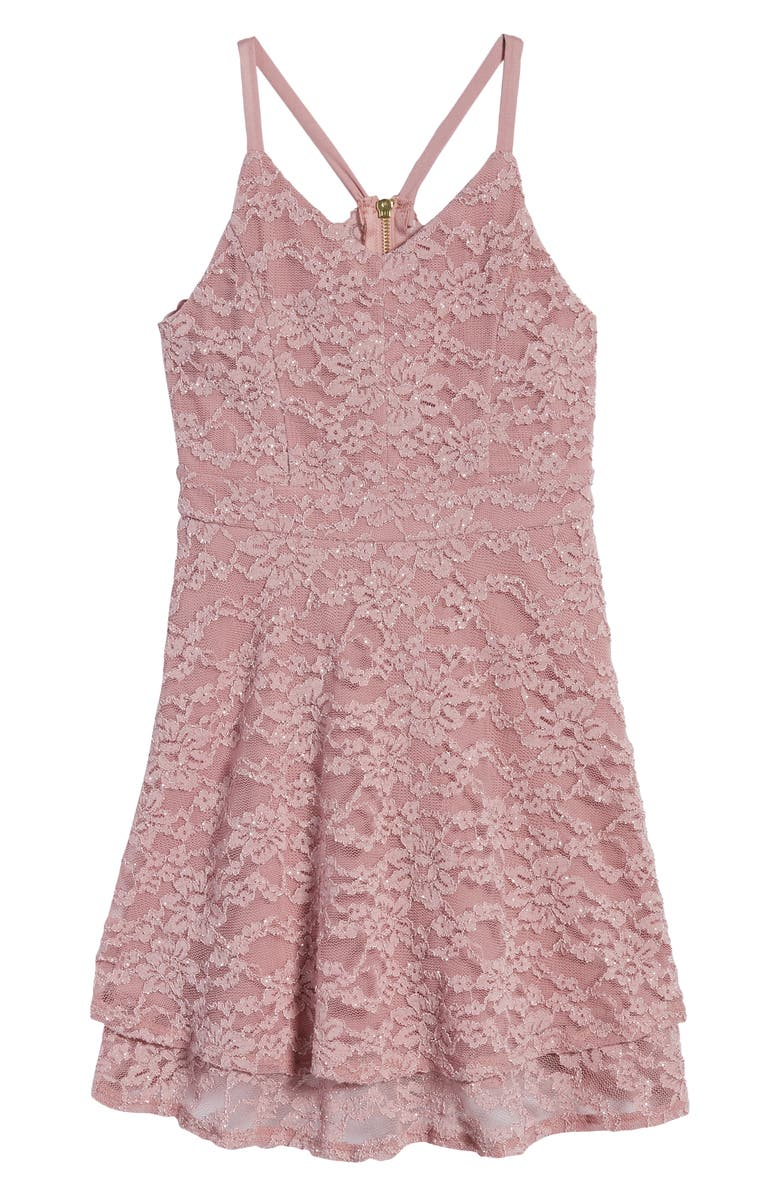 LOVE, NICKIE LEW Lace Skater Dress, Main, color, ROSE