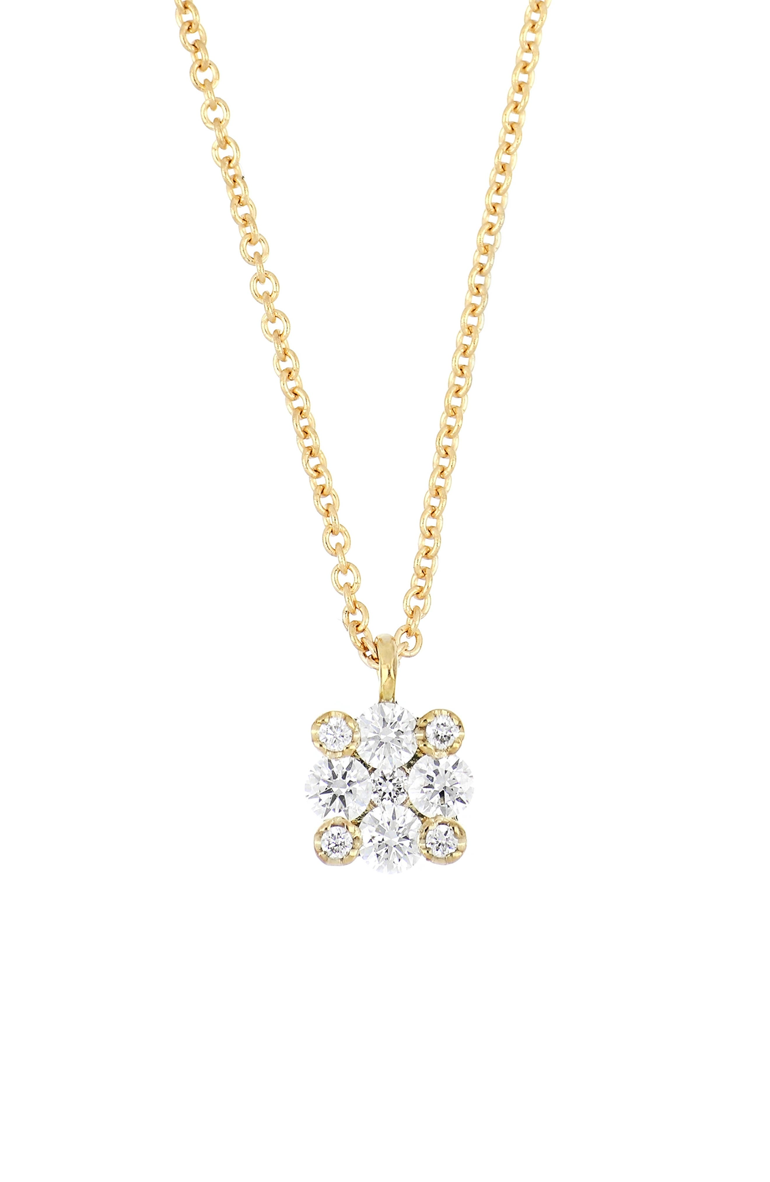 Inspired by modern architecture, overlapping diamonds create sparkling dimension in this timeless pendant necklace that\\\'s handcrafted in 18-karat gold. Style Name: Bony Levy Getty Botanical Small Pendant Necklace (Nordstrom Exclusive). Style Number: 6057087. Available in stores.