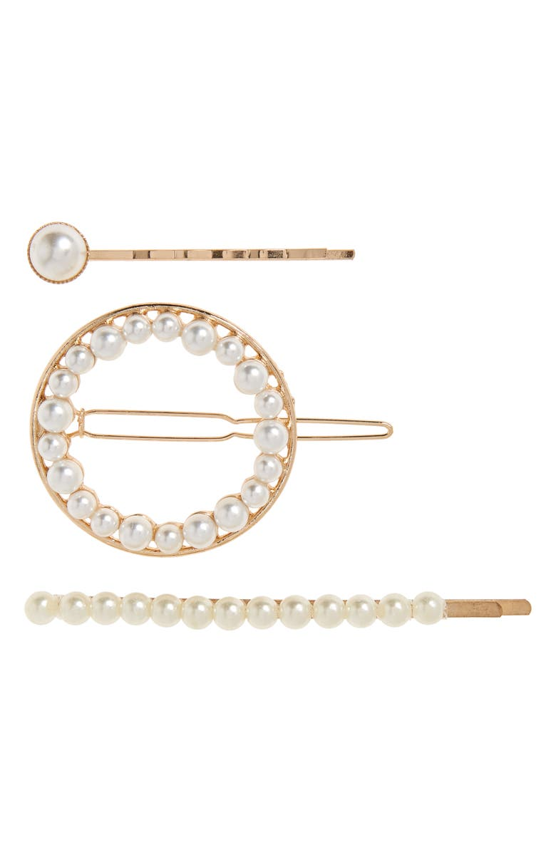 8 OTHER REASONS 3-Pack Pearl Hair Pins, Main, color, GOLD