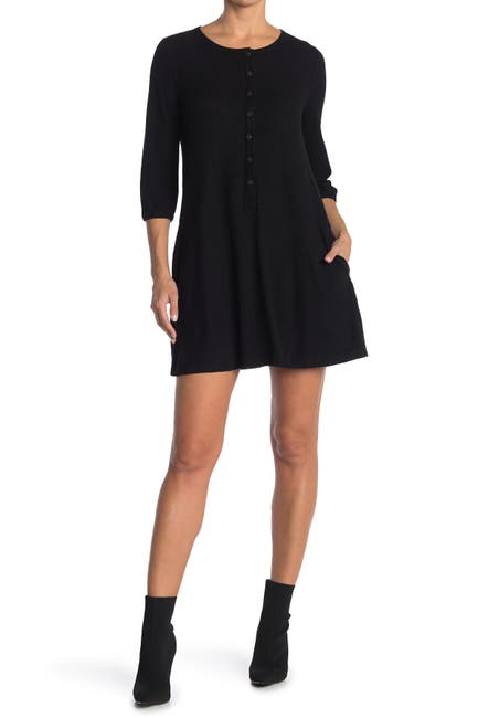 Image of MELLODAY Knit Rib 3/4 Sleeve Button Front Dress