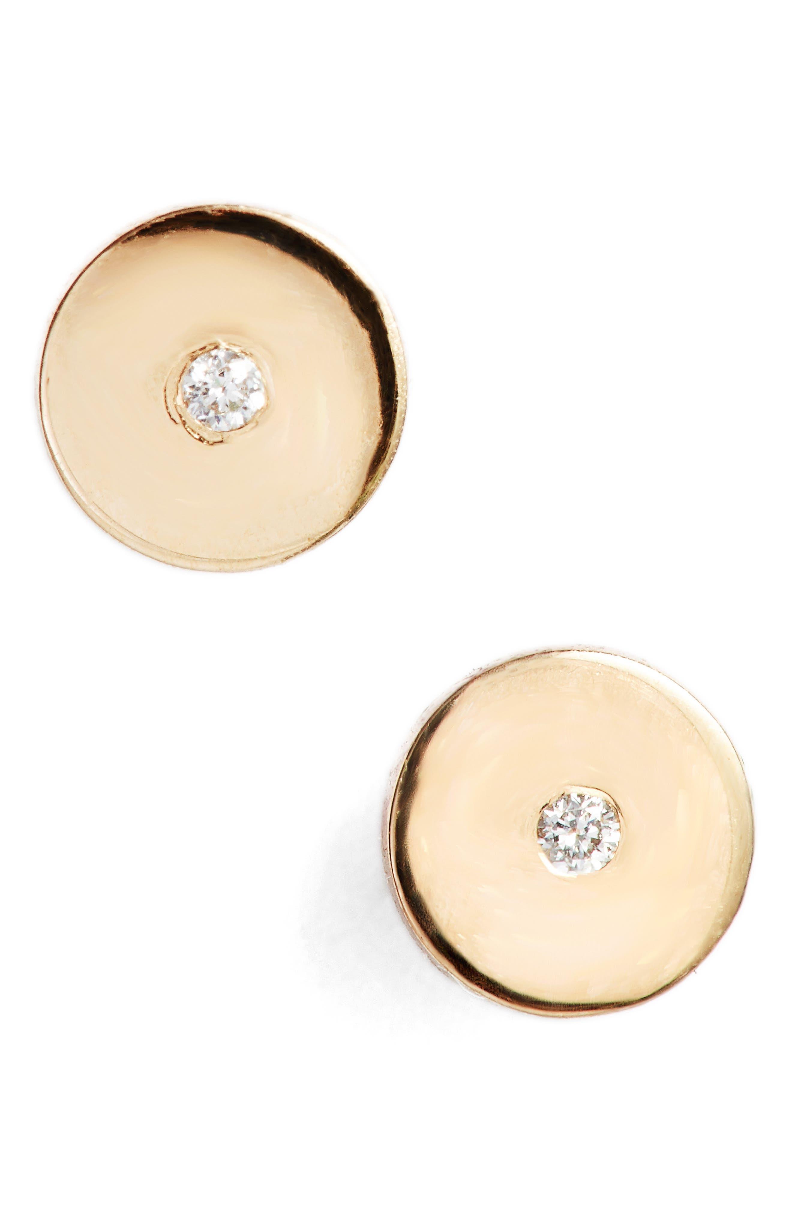 Zoe Chicco Round Disc Center Diamond Stud Earrings