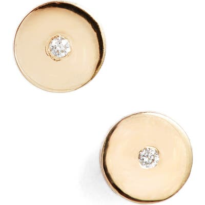 Zoe Chicco Round Disc Center Diamond Stud Earrings