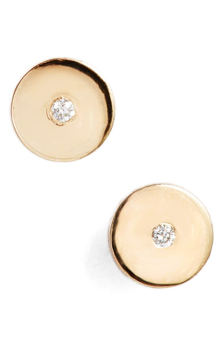 ZOË CHICCO Round Disc Center Diamond Stud Earrings, Main, color, YELLOW GOLD