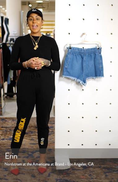 Paperbag Waist Denim Cutoff Shorts, sales video thumbnail