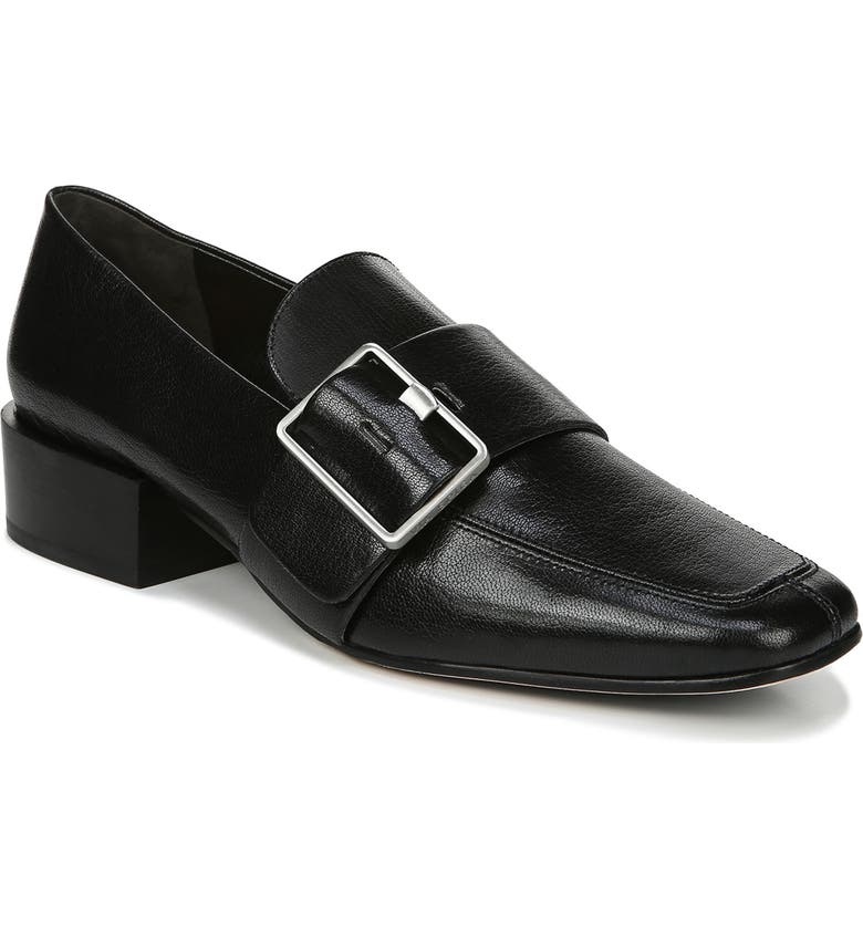 VIA SPIGA Brilee Buckle Loafer, Main, color, BLACK LEATHER