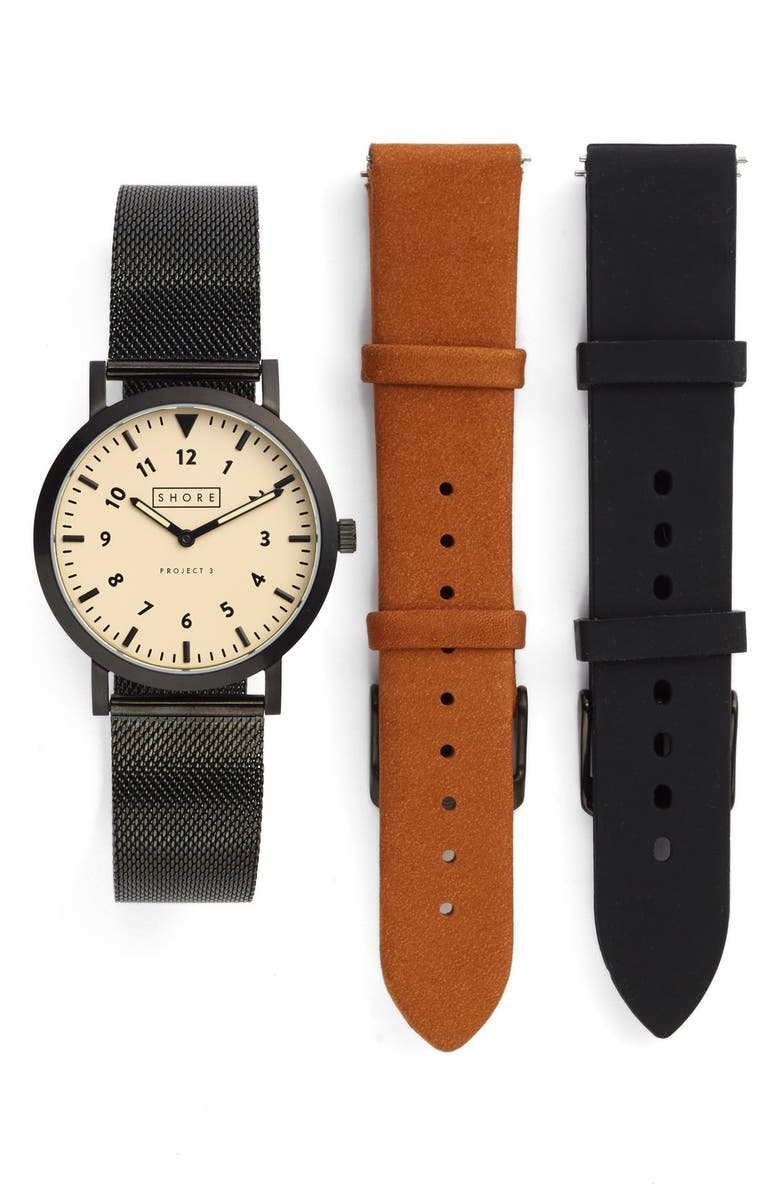 SHORE PROJECTS 'Project 3' Round Watch Leather & Mesh Strap Box Set, 39mm, Main, color, 201
