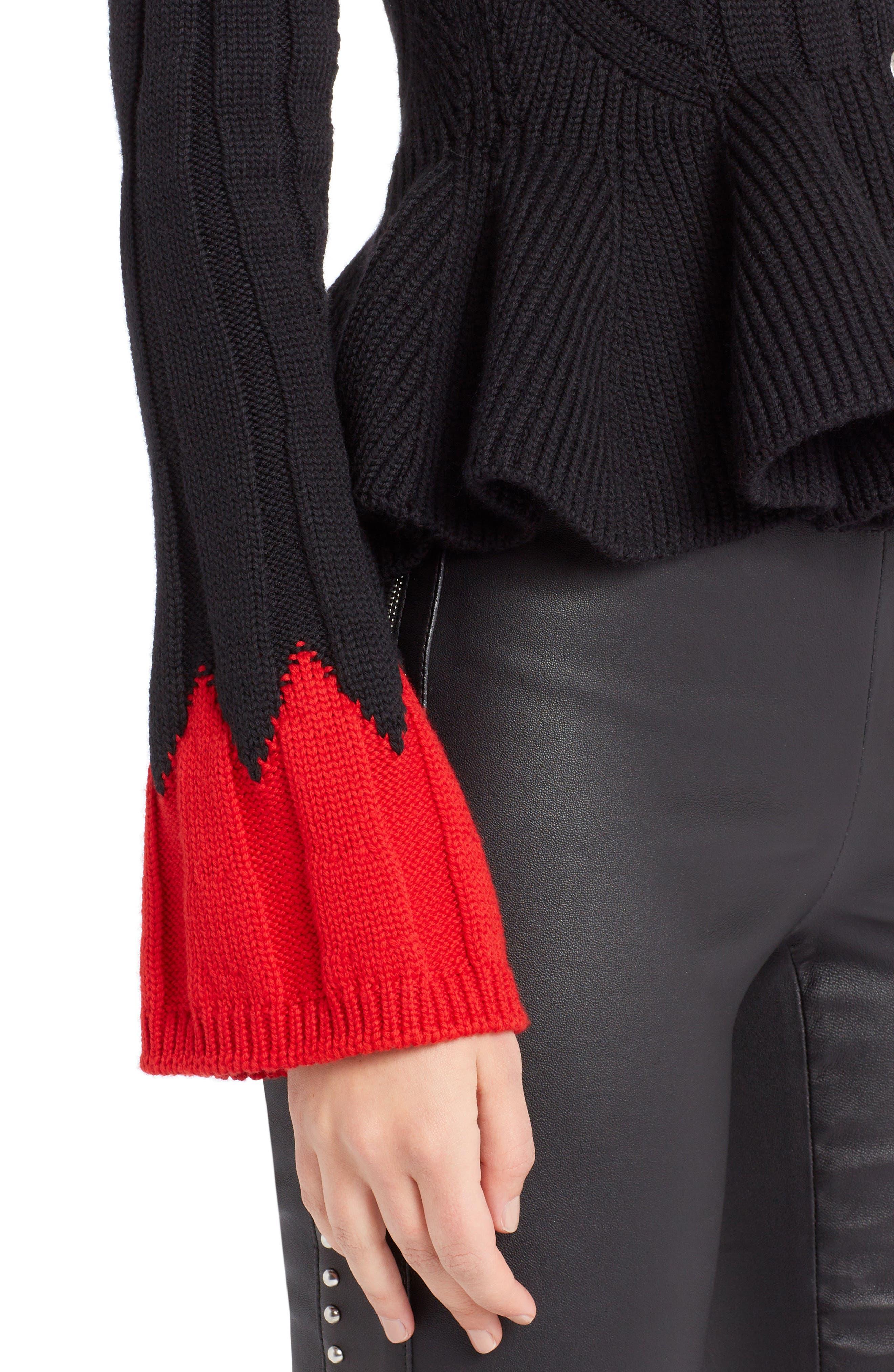 ,                             Contrast Cuff Rib Knit Peplum Cardigan,                             Alternate thumbnail 4, color,                             007